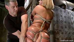 Tight tied blond double penetration toyed on hogtie