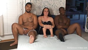 Mature filmed when dealing two BBCs in hardcore