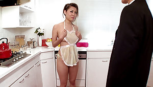 Girl Housewife Begs For Cum In Rub-down the Kitchen