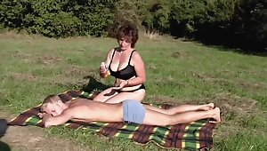 Brunette BBW-Milf Into public notice by Young Guy