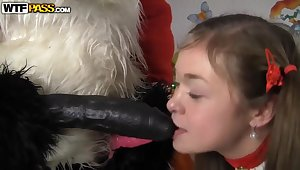 Enticing babe in arms has anal sex with Santa Panda