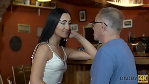 Horny old fart fucks a hot raven haired babe at the pub