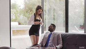 Superb white secretary Joseline Kelly gets her anus holed by black boss