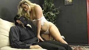 Sexy MILF plays kinky on masked man's erect penis
