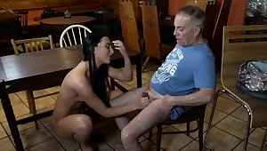Old young lackey with an increment of mistress feet first time Tochis you