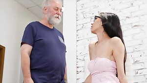 Big old fucker can't ignore his attraction to a sexy young woman