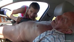 Dirty old dudes offer money to cute teeen Izabela for a quickie